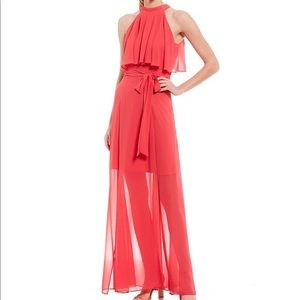 Eliza J Chiffon Pop Over High Round Neck MaxiDress